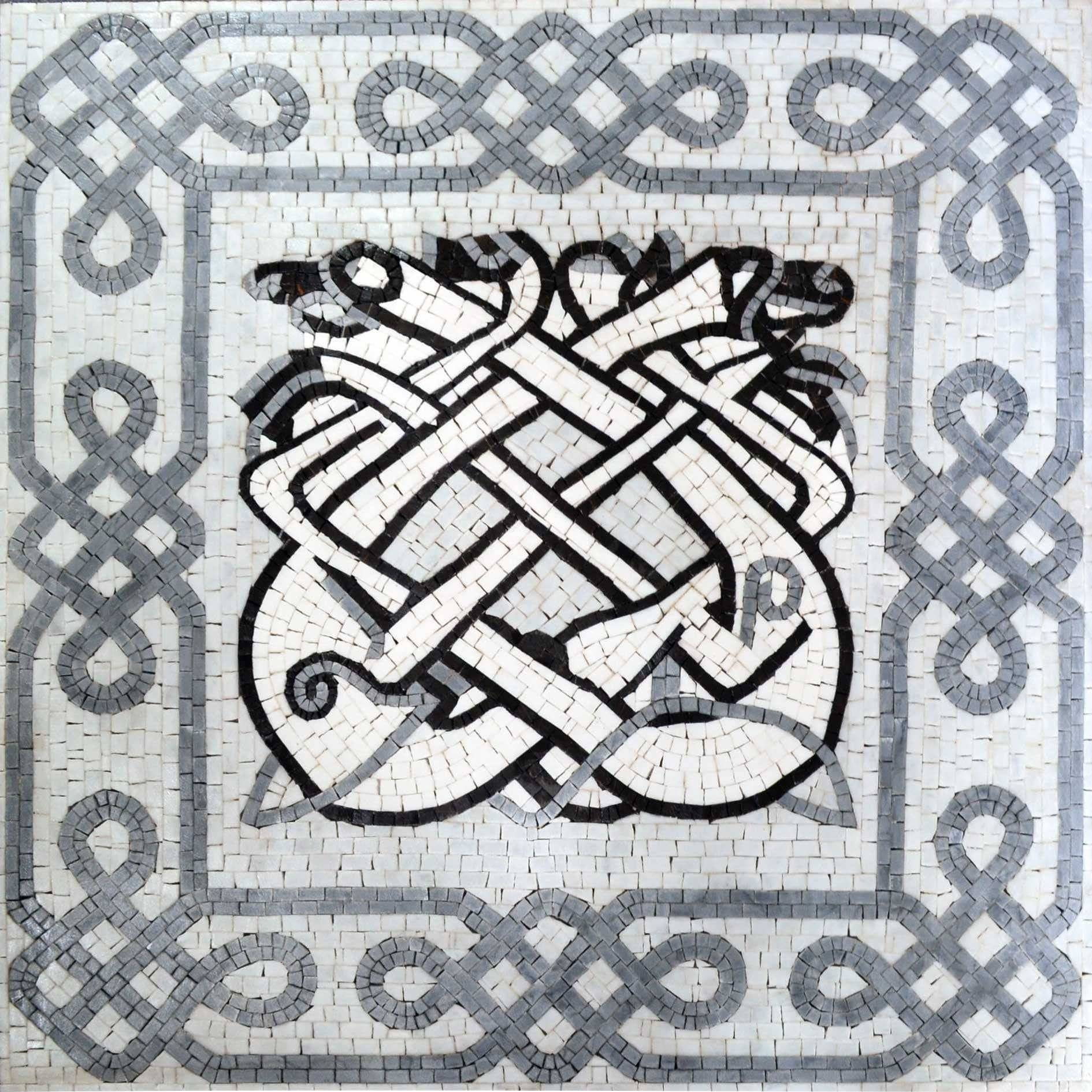 Marble Mosaic - Celtic Dogs
