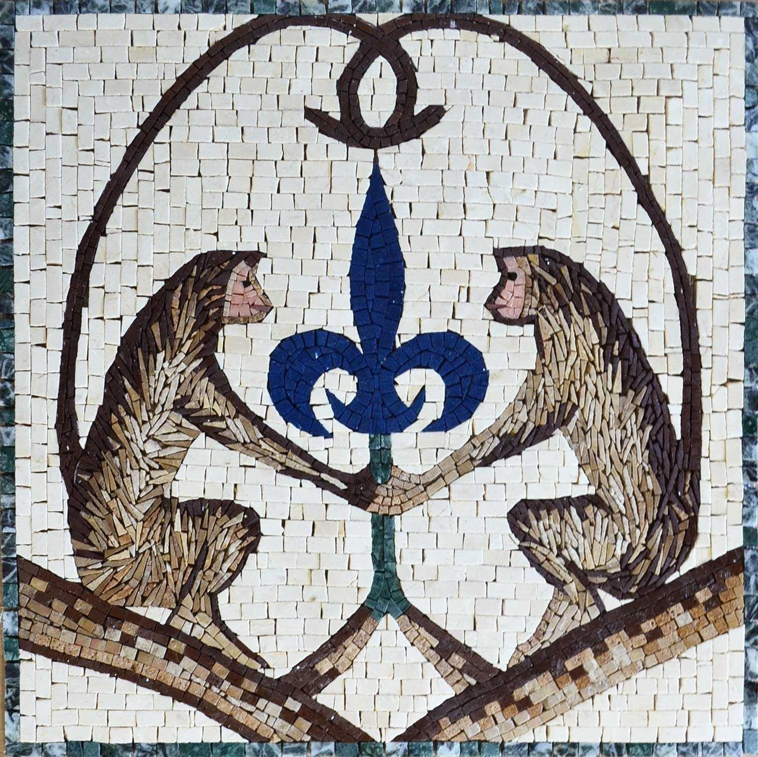 Mosaic Animal Art - Chimps and Lys Flower