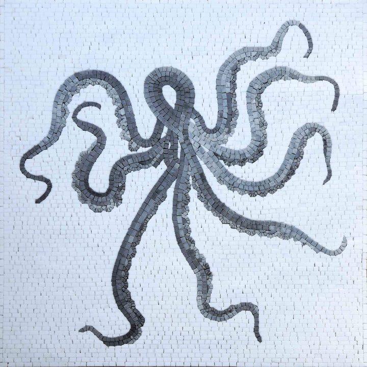Shades of Octopus - Grey Scale Mosaic Wall Art