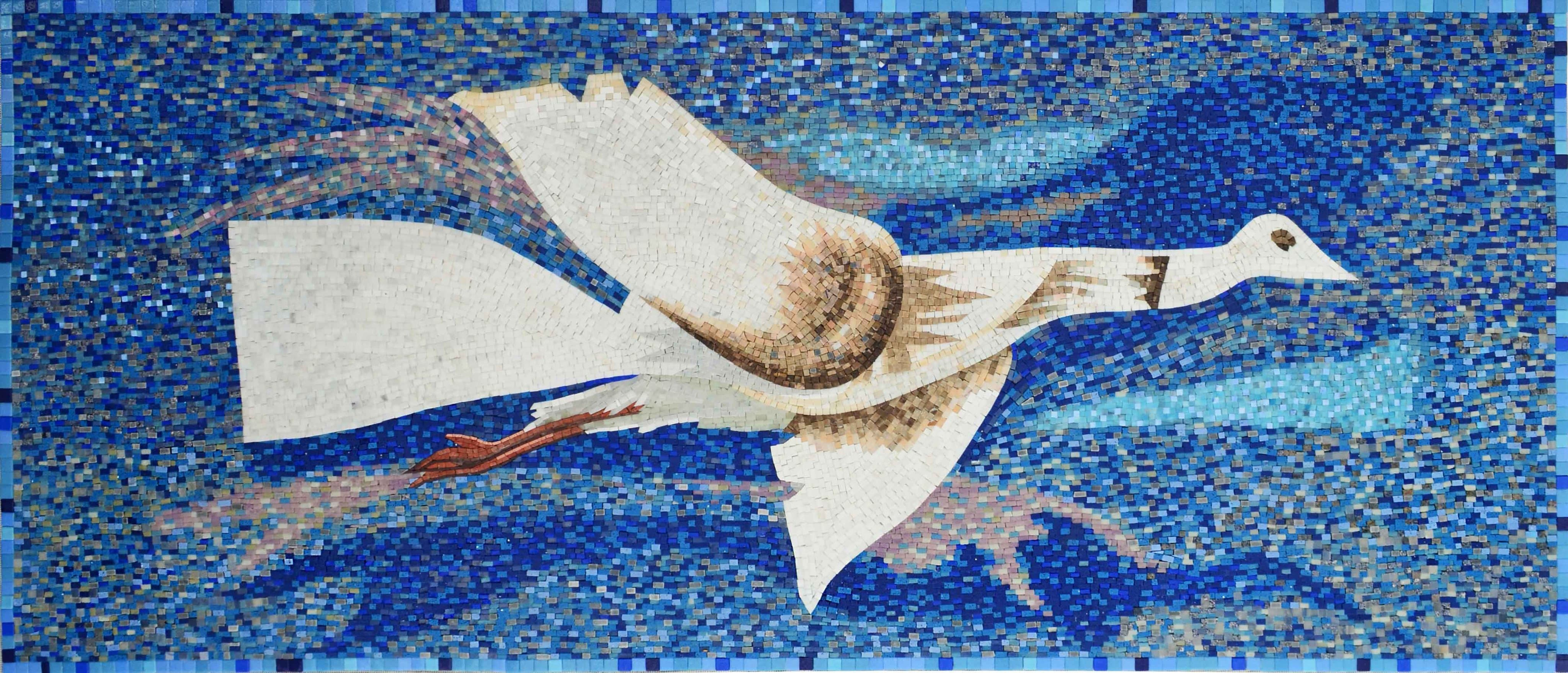 Mosaic Tile Art White Goose Flying Pic