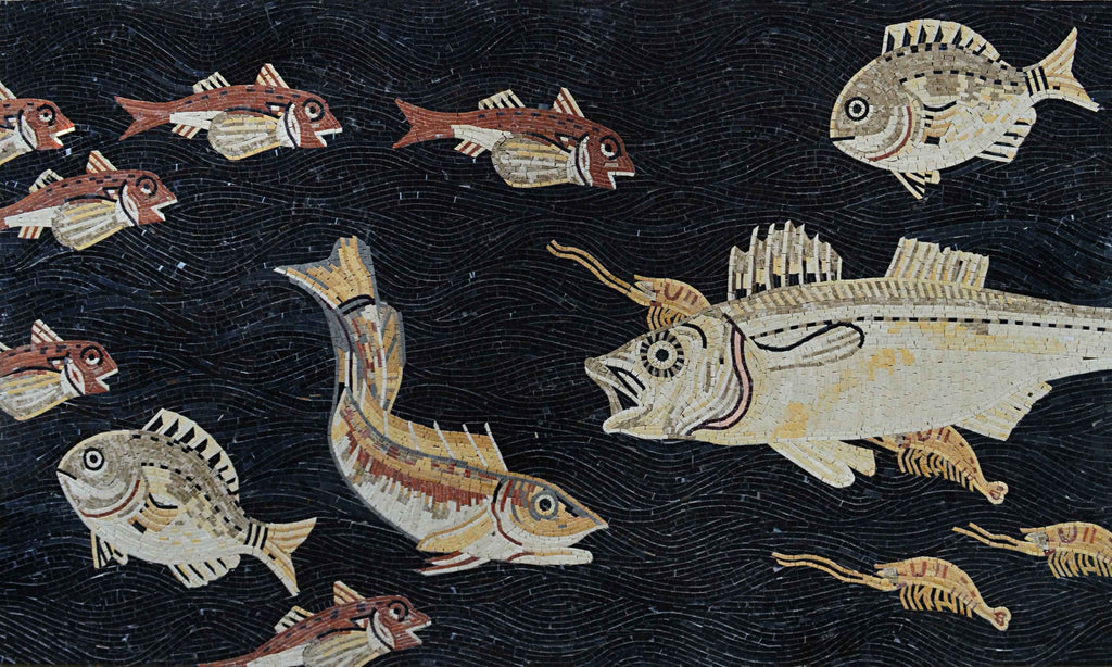 Roman Mosaic Fish Design Fully Handmade Tile Art.