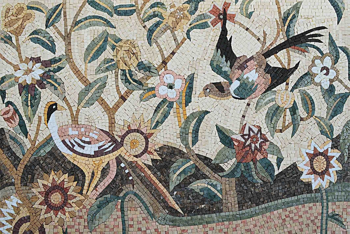 Mosaic Wall Art - Birds and Flowers