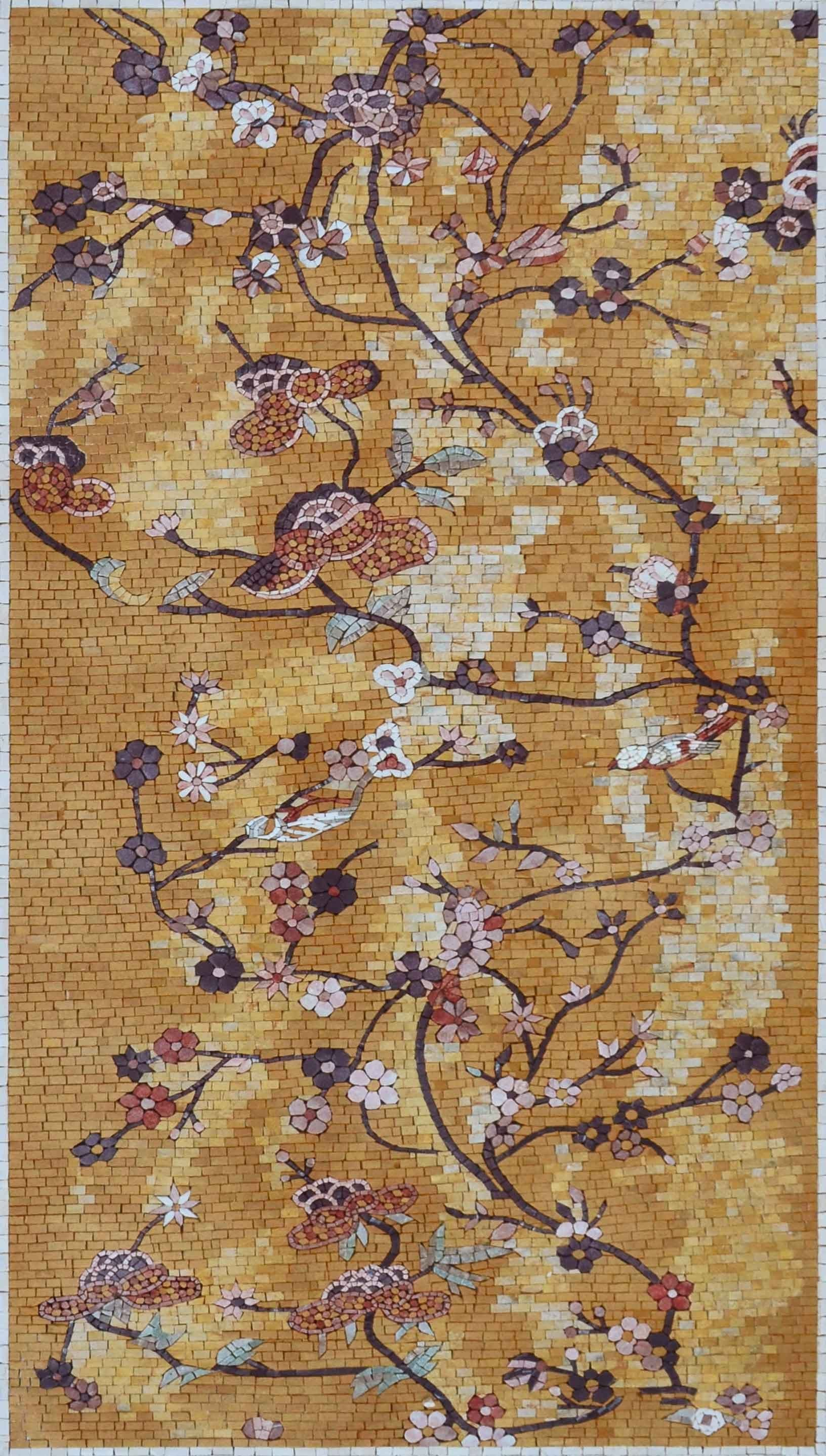 Japanese Mosaic Pattern Floral Birds And Butterflies Mozaico