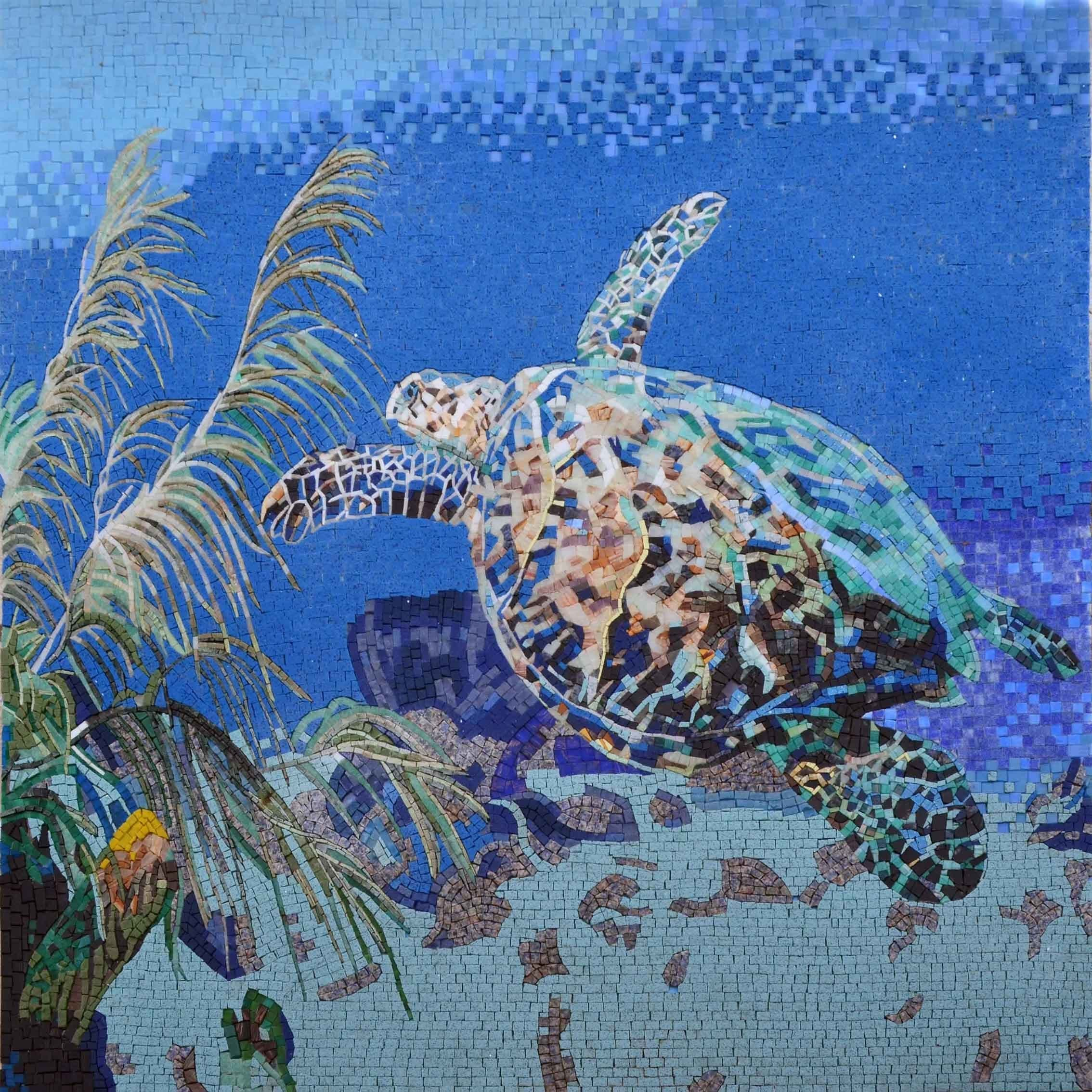 Mosaic Wall Art Floating Seaturtle Pic