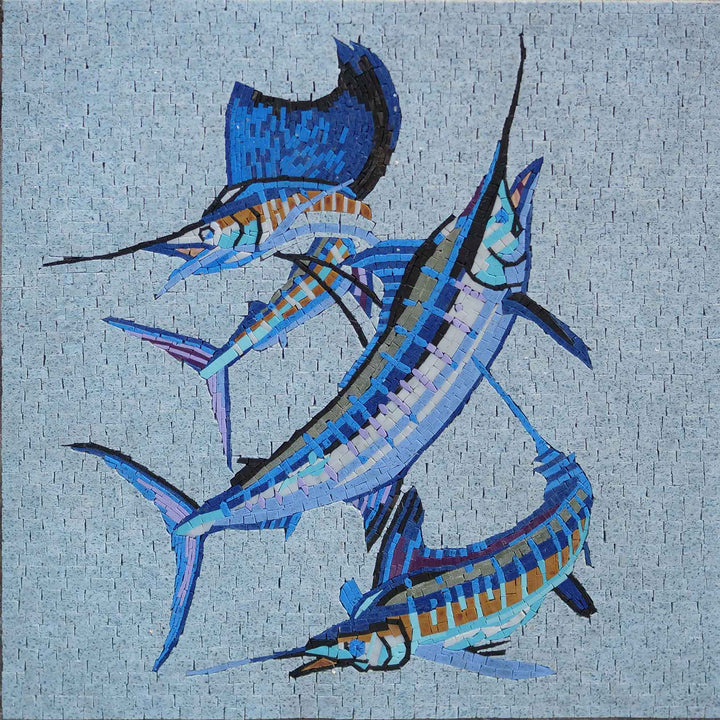 Swordfish Trio - Fish Mosaic Art