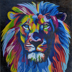 Image of: Animali Modern Mosaic Art Colorful Lion Head Animals Mozaico Mosaic Animals Animals Mosaic Art Mozaico