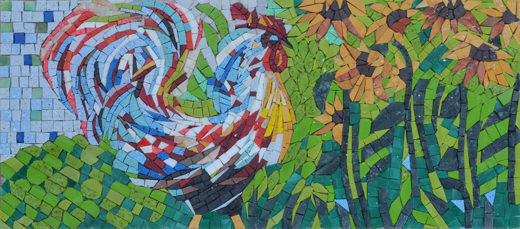 Mosaic Wall Art - Rooster and  Sunflowers