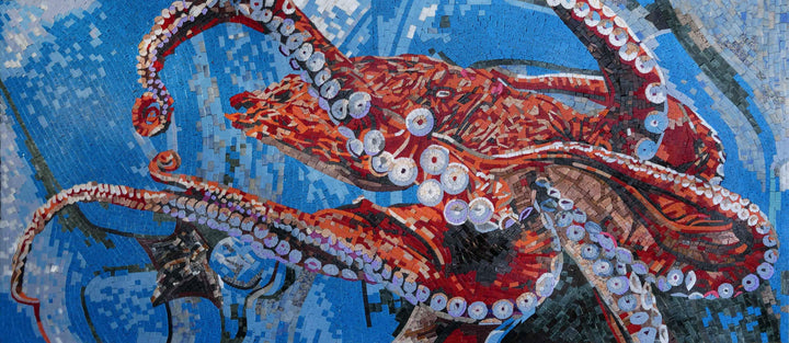 Octopus In Action- Nautical Mosaic Art