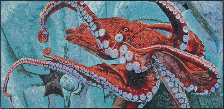 Nautical Mosaic Art - Orange Octopus