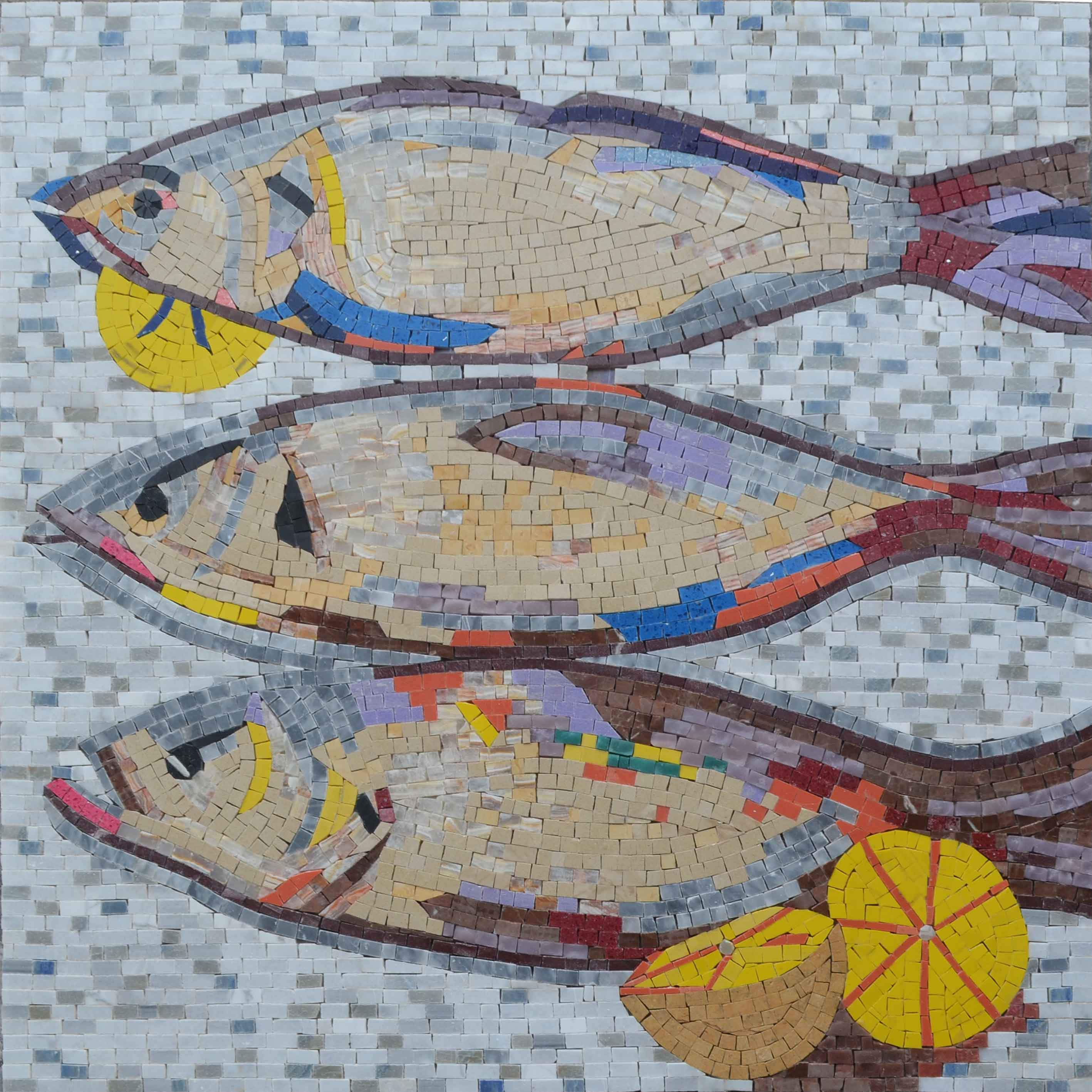 Fish Mosaic With Nautical Broder