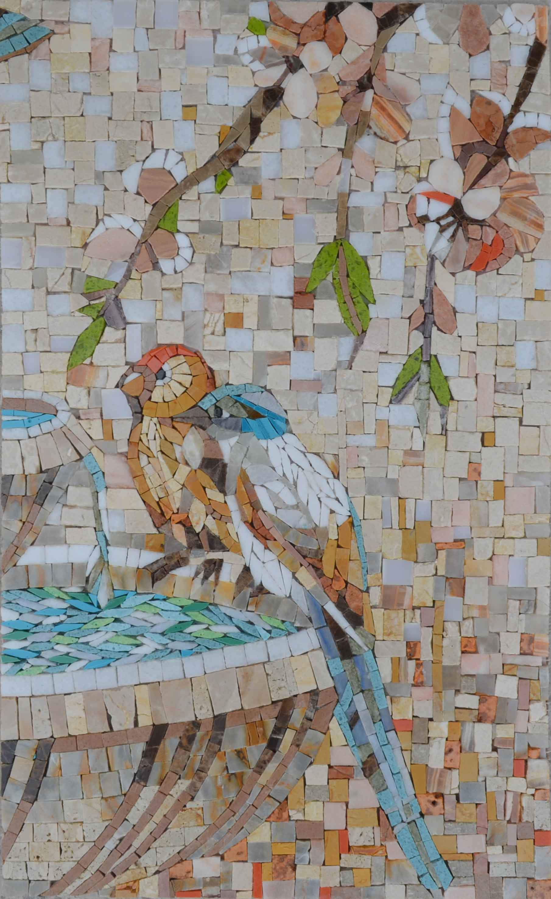 Birds By The Fountain Mosaic Art Pic