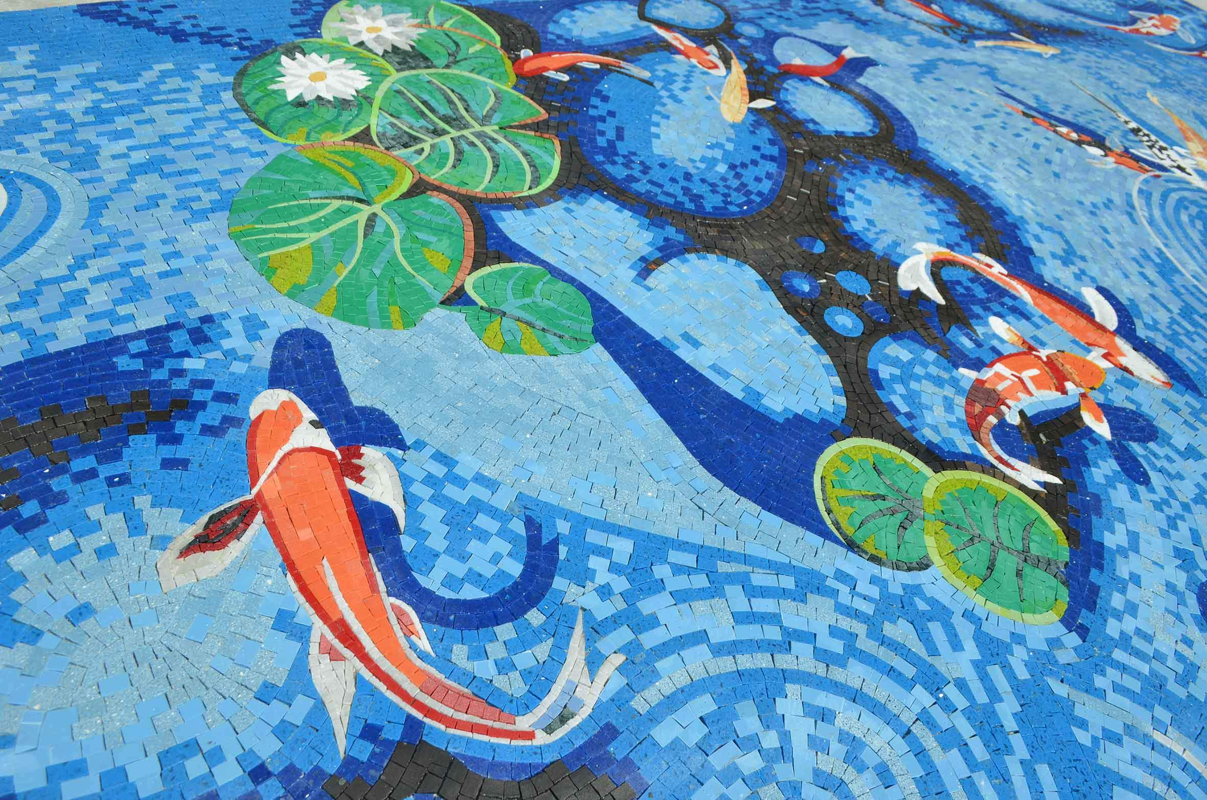 Koi Mosaics Part - 20: Koi Fish Pond - Mosaic Art