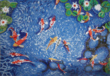 Koi Fish Swimming in the Pond - Mosaic Art