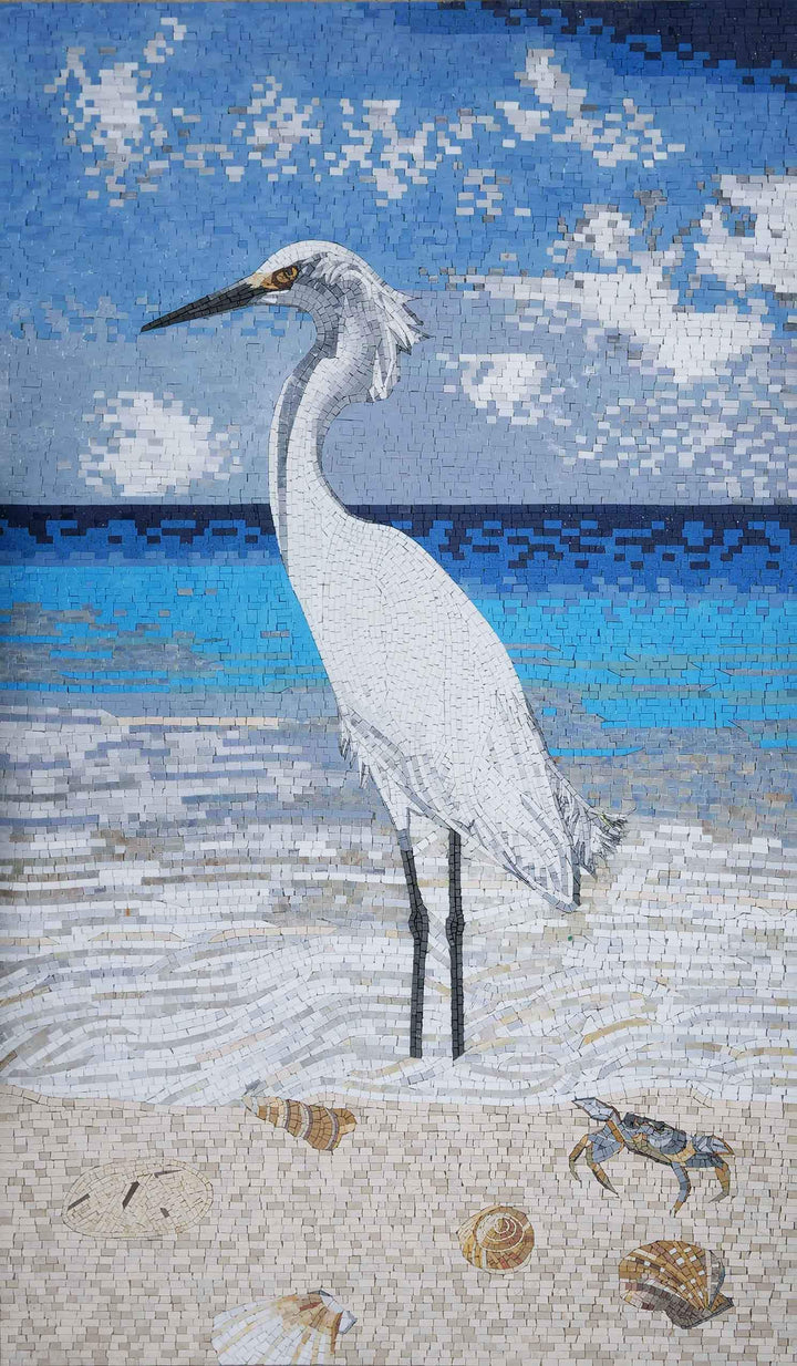 White Egret Reflecting - Sea Side Mosaic Art