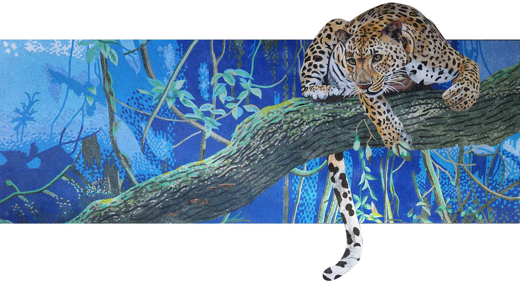 Feline Instinct- Leopard On A Branch Mosaic Wall Art