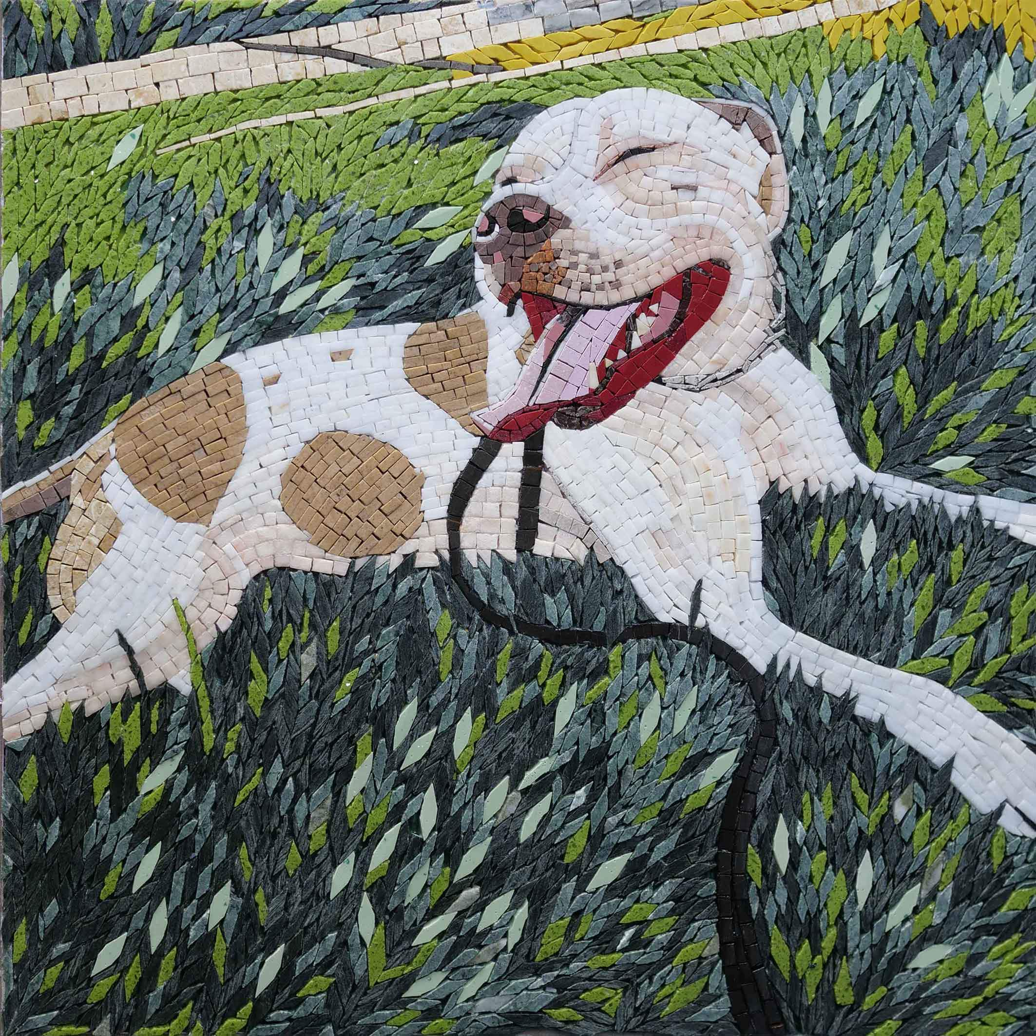 Smiling Pitbull Custom Mosaic Wall Art Pic