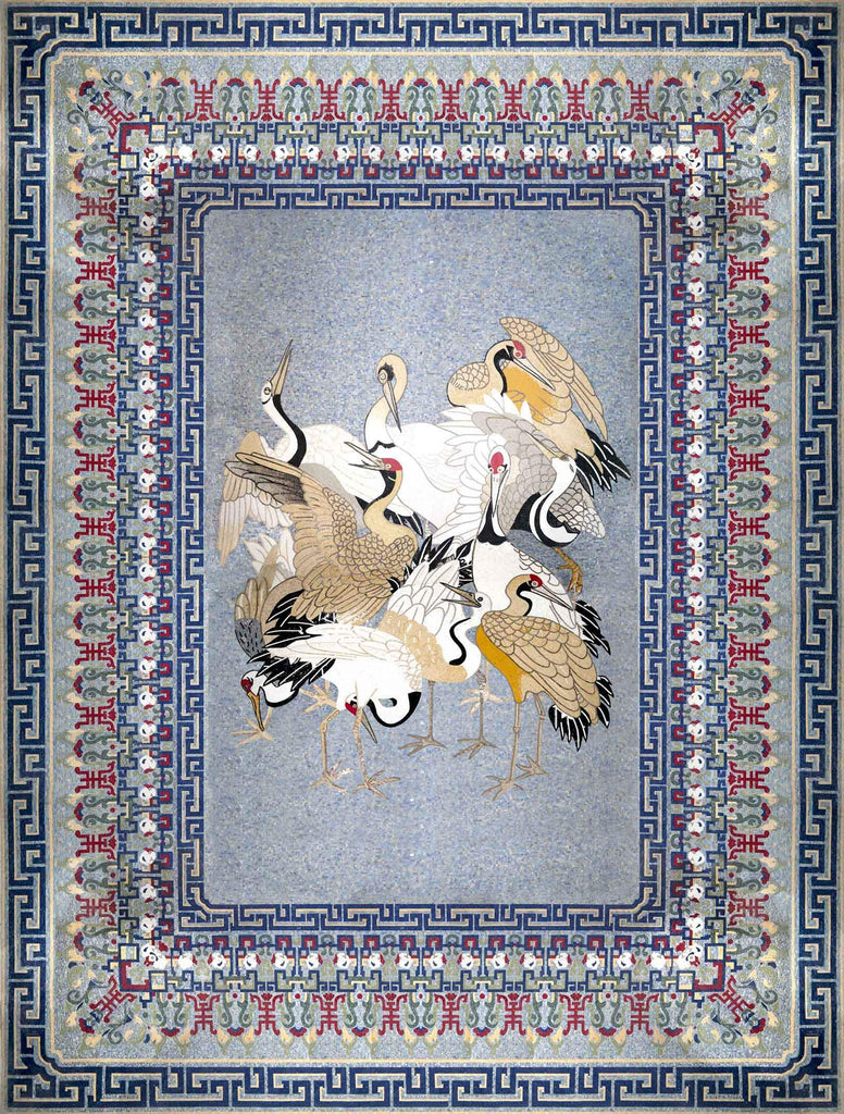 Marble Mosaic Rug - Rug of Birds | Birds And Butterflies | Mozaico