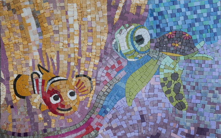 Nemo and Sea Turtle Mosaic Art Design