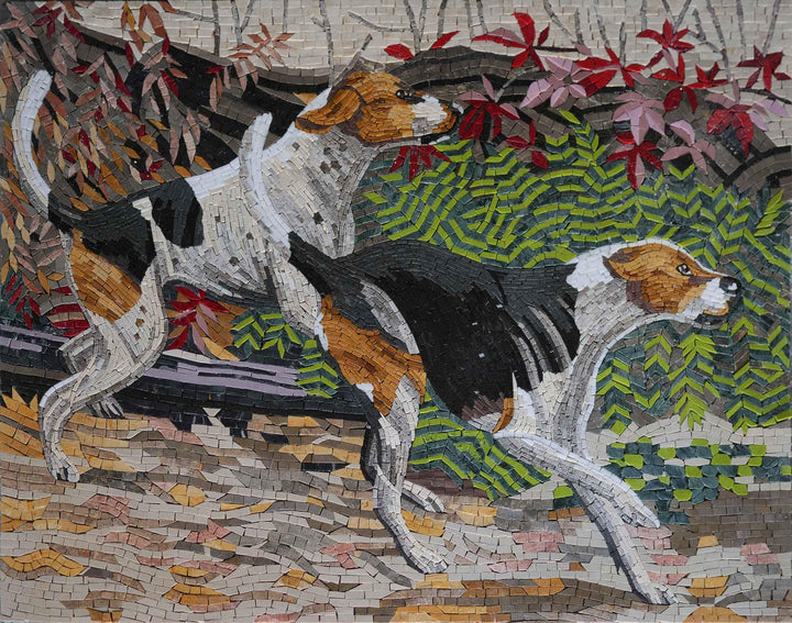 Playful Dogs Mosaic - Marble Mosaic Art