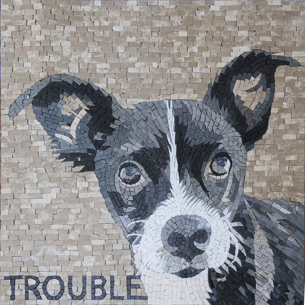 Trouble - Custom Dog Mosaic Portrait