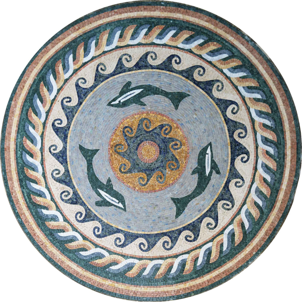 The Dolphin Trio Nautical Mosaic Medallion