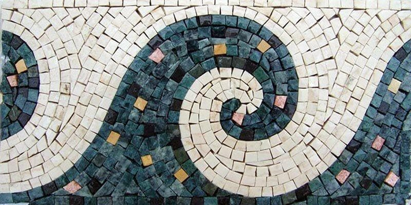 Mosaic Tile Pattern Wave Borders Mozaico