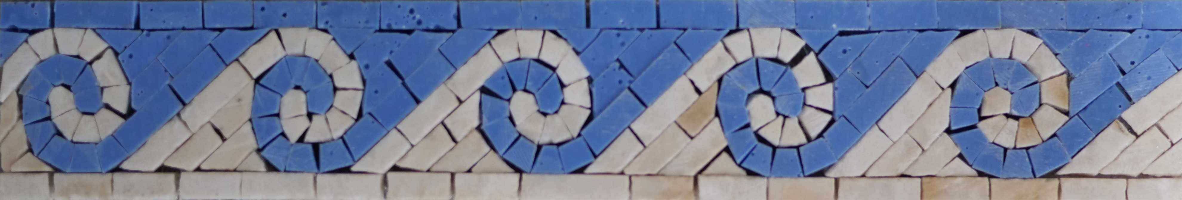 Blue Waves Mosaic Border