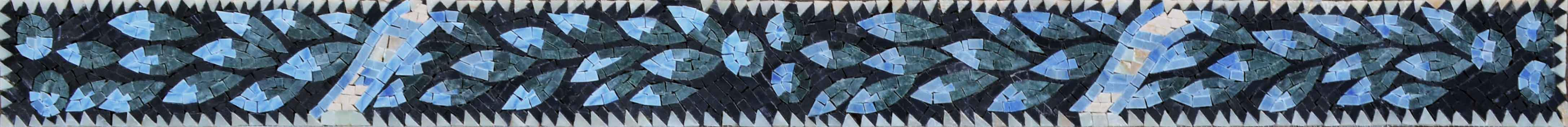 Blue Leaves Pattern - Mosaic Border