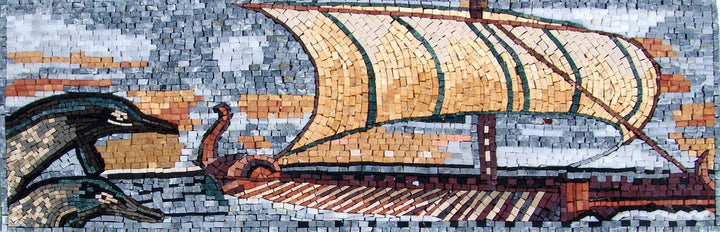 Mosaic Border - Aqua Nautical Art