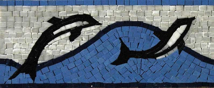 Mosaic Border - Dolphins