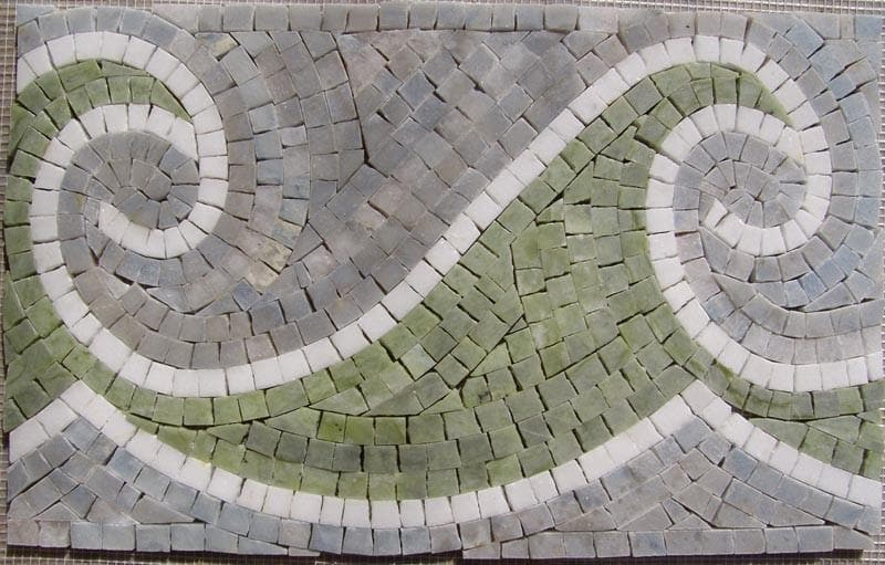 Marble Mosaic Border - Waves of Emerald Green