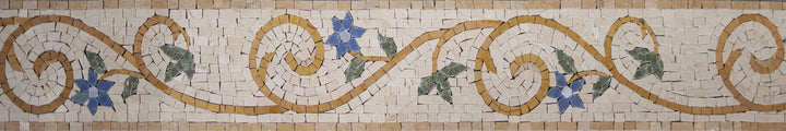 Mosaic Flower Border - Blue Elegance