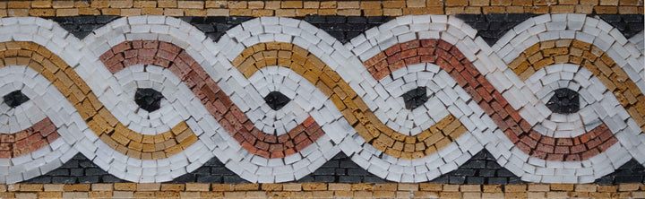 Bronze Spirals Border Mosaic Artwork