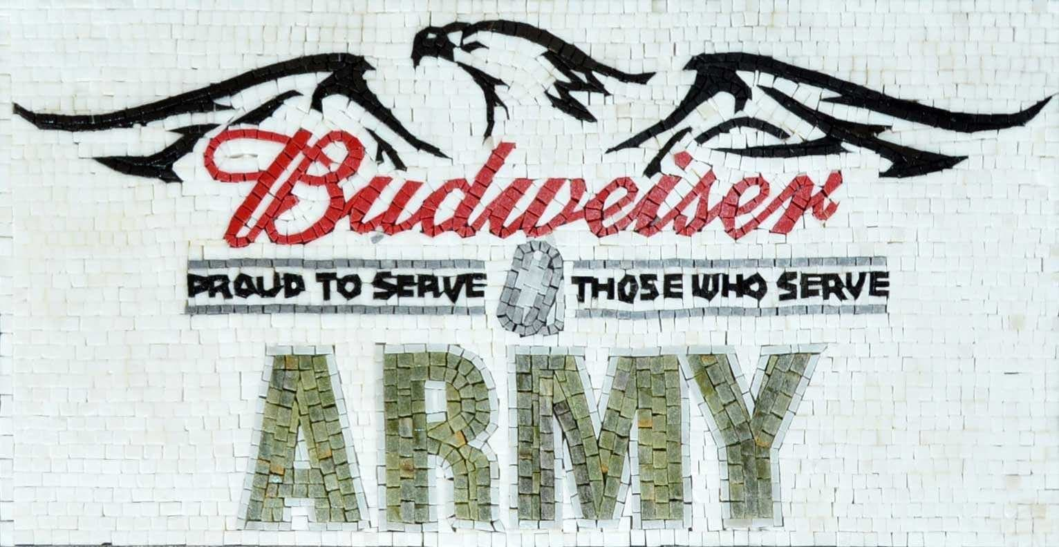 Custom Budweiser Beer Army Signs Marble Mosaic