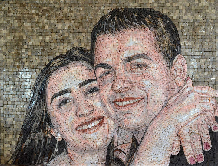 Custom Valentine Portrait on Marble Mosaic