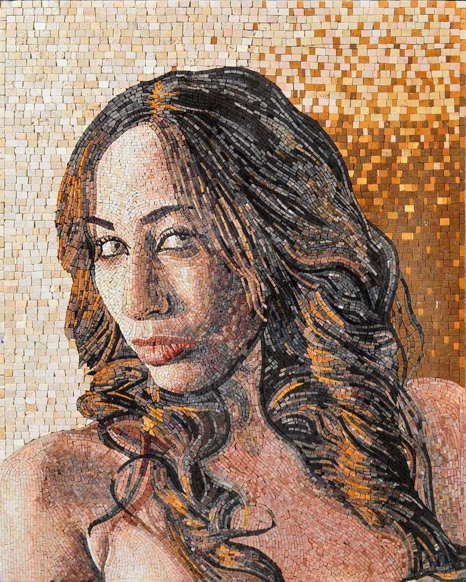 Customized Portrait On Marble Mosaic Pic