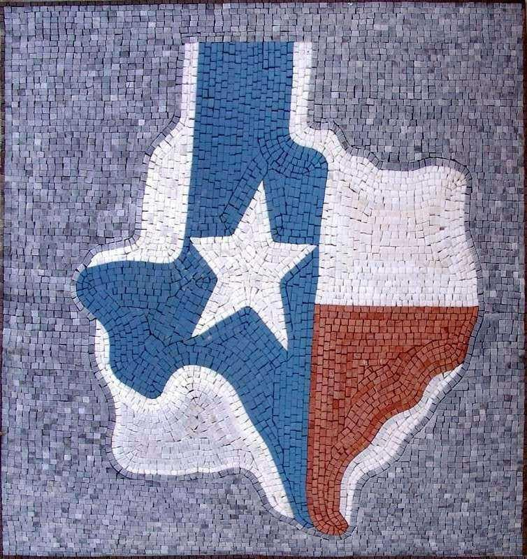 Texas Map Mosaic Art