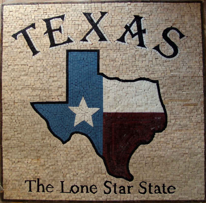 TEXAS Flag Marble Mosaic Art
