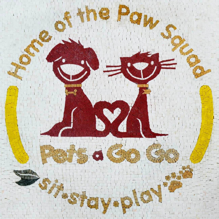 Pet shop Logo Custom Mosaic Marble