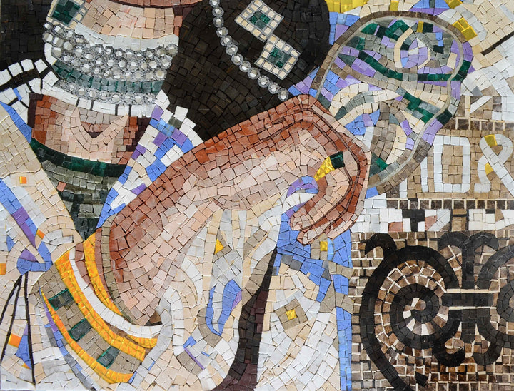 Female Body Ornamented with jewelry mosaics