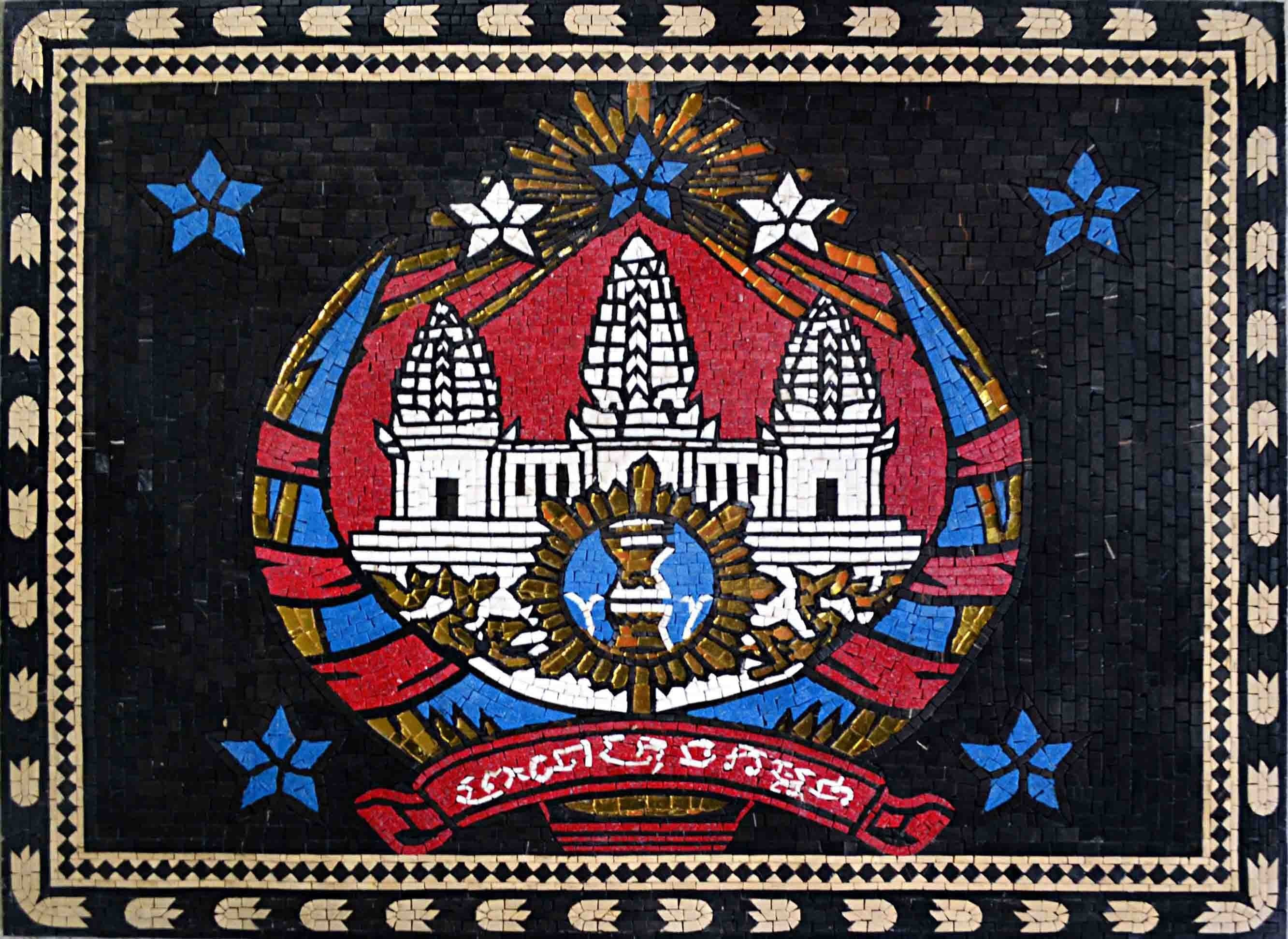 Custom Mosaics - Cambodia Coat of Arms