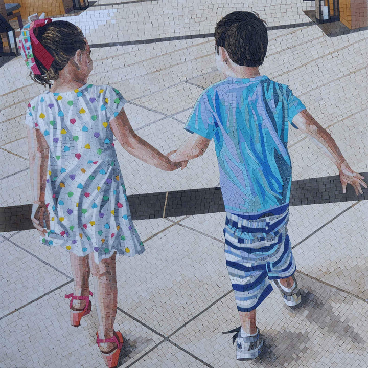 Brother and Sister - Custom Mosaic Art