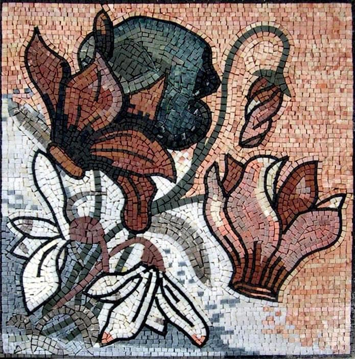 Abstract Floral Mosaic. Cyclamen Flower