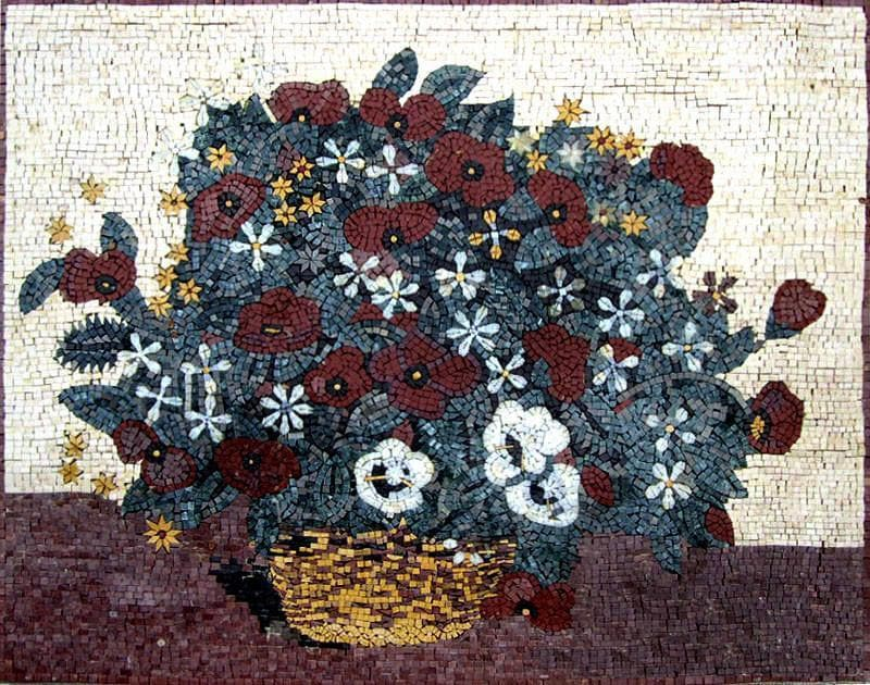 White And Red Coquelicot Mosaic Art Pic