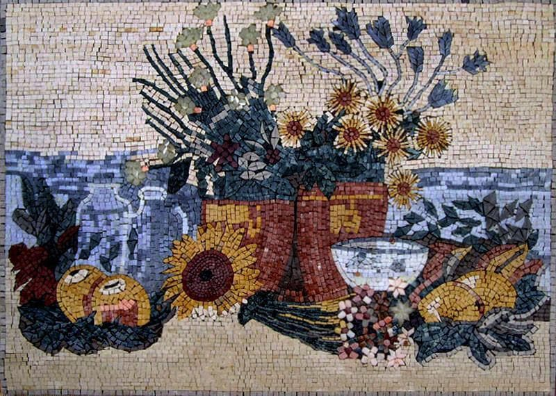 Sunflowers And Fruit Still Life Mosaic Artwork Pic