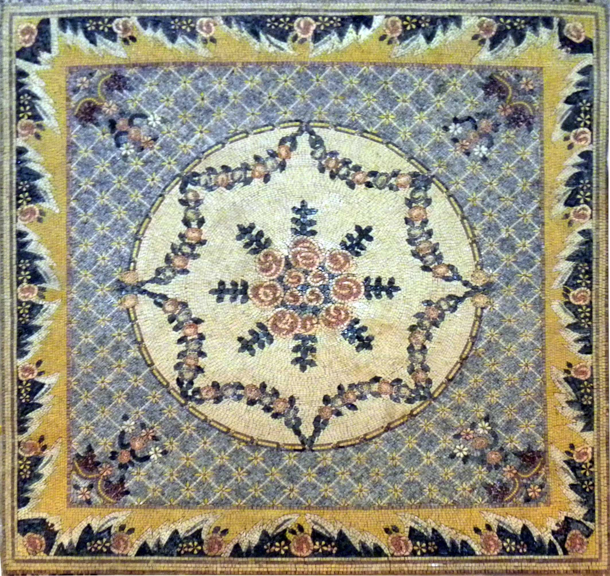 Decorative Flower Design Mosaic Rug Pic