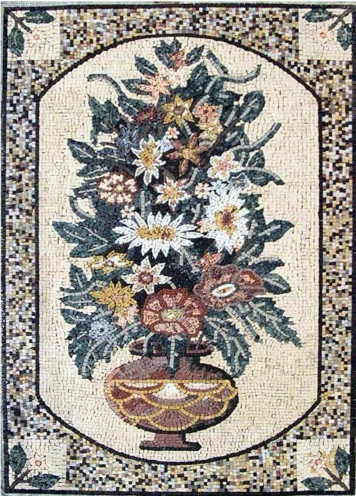 Roman Mosaic Flower Art Scene Flowers And Trees Mozaico