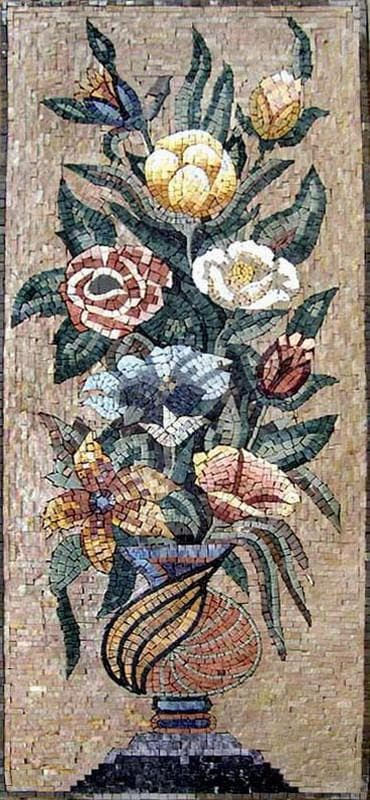 Vase of Colorful Roses Mosaics