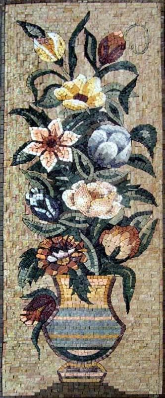 Roses and Lilies Floral Mosaic Mural