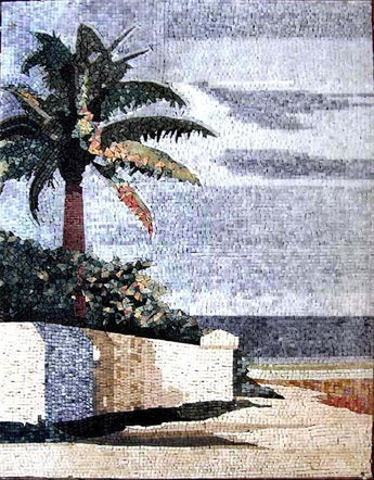 Palm Tree Scene Marble Mosaic